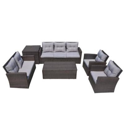 Martinka 6-Piece Patio Brown Wicker Outdoor Sectional Sofa Set with Grey Cushion