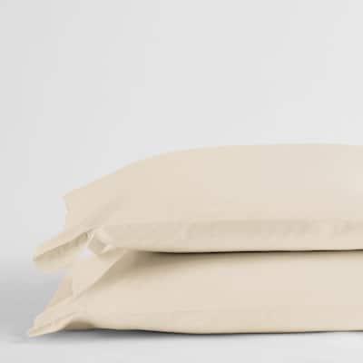 Legends Luxury Solid Cream 500-Thread Count Cotton Sateen Standard Pillowcase (Set of 2)