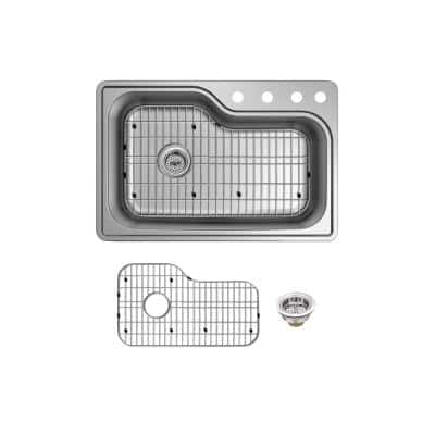 Stainless Steel 33 in. 18-Gauge Single Bowl Top Mount Kitchen Sink with Grid and Drain Assembly