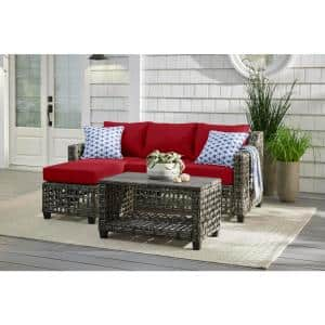 Briar Ridge 3-Piece Brown Wicker Outdoor Patio Sectional Sofa with CushionGuard Chili Red Cushions