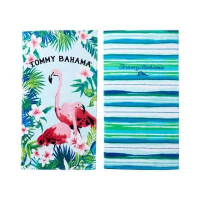 Flamingo Fronds and Baja Surf Stripe 2-Piece Blue and Green Cotton 36 in. x 68 in. Beach Towel Set