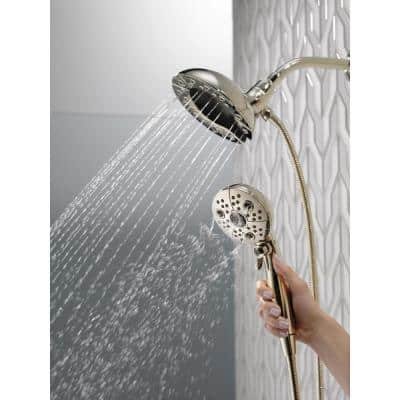 In2ition Two-in-One 5-Spray 6.6 in. Dual Wall Mount Fixed and Handheld H2Okinetic Shower Head in Polished Nickel