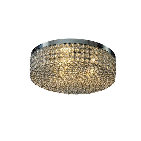 14 In 3 Light Chrome Unique Statement Circle Drum Crystal Flush Mount 7019c36cr The Home Depot