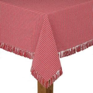 Homespun Fringed 52 in. x 70 in Red 100% Cotton Tablecloth