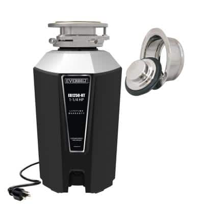 Designer Series 1.25 HP Continuous Feed Garbage Disposal with Polished Chrome Sink Flange and Attached Power Cord
