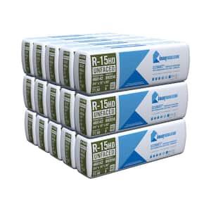 R-15 EcoBatt Unfaced Fiberglass Insulation Batt High Density 3-1/2 in. x 15 in. x 93 in. (15-Bags)