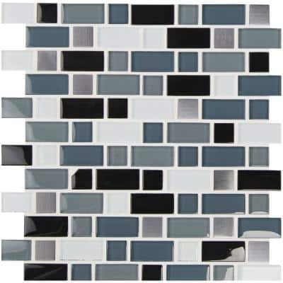Crystal Cove 12 in. x 12 in. x 8 mm Glass Metal Mesh-Mounted Mosaic Tile (1 sq. ft.)