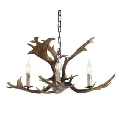 Eldora 27 in. Adjustable Resin Antler 3-Light Brown LED Chandelier