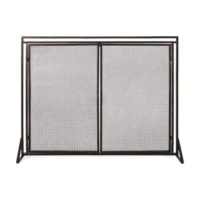 Cartwright Black Brushed Gold Metal 1-Panel Fireplace Screen