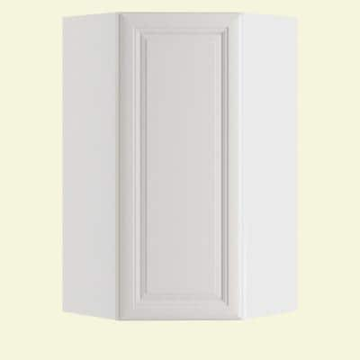 Brookfield Assembled 27x36x15 in. Plywood Wall Angle Corner Kitchen Cabinet Soft Close Left in Painted Pacific White