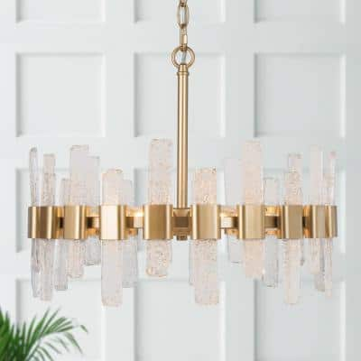 Brass Gold Farmhouse Chandelier, Reperio 6-Light Transitional Farmhouse Dining Room Chandelier with Icing Glass Strip