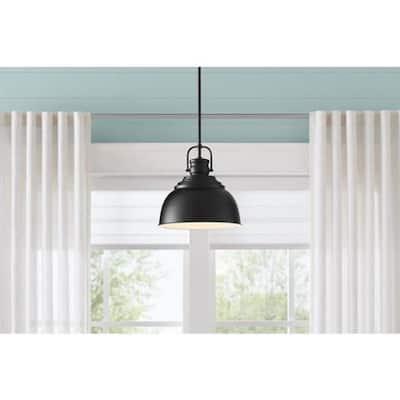 Shelston 1-Light Black Pendant with Metal Shade