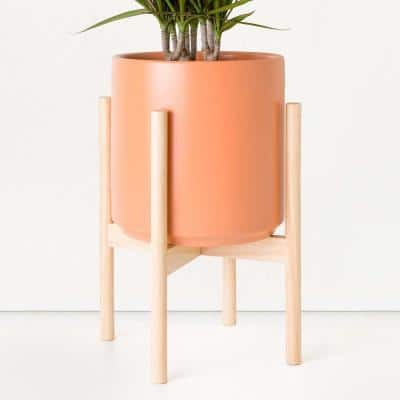 12 in. Peach Ceramic Planter with Natural Wood Stand (10 in., 12 in. or 15 in.)