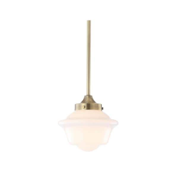 Jonathan Y Kurtz 7 2 In 1 Light Brass Gold Led Pendant With Adjustable Drop Metal Glass Jyl3516a The Home Depot