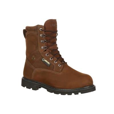 Men's Ranger Gore-Tex Waterproof 9 inch Lace Up Work Boots - Steel Toe - Brown 12 (M)