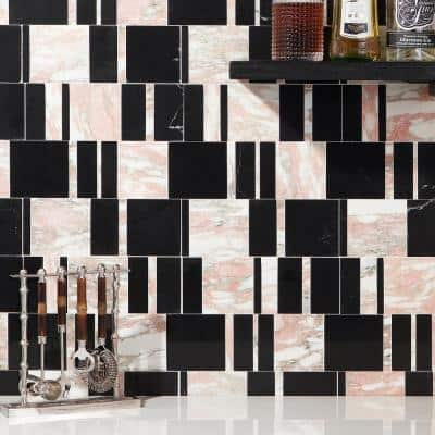 Ronwyn Rosa 10.79 in. x 11.81 in. Polished Marble Floor and Wall Mosaic Tile (0.88 Sq. Ft. /Each)