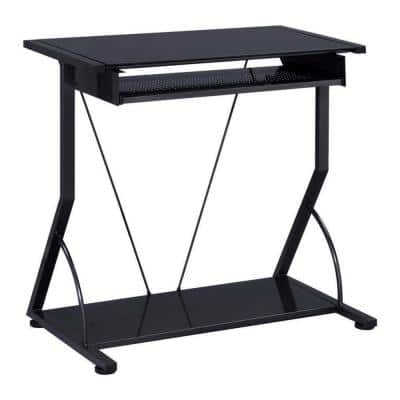 30 in. Rectangular Black Computer Desk with Keyboard Tray