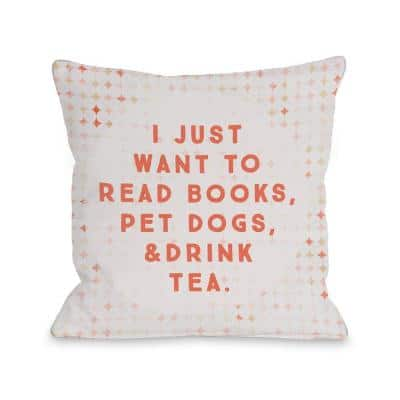 Read Books Pet Dogs Drink Tea Peach Graphic Polyester 16 in. x 16 in. Throw Pillow