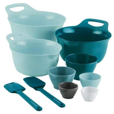 10-Piece Light Blue and Teal  Mixing  Bowl and Measure Set