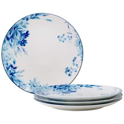"""Blossom Road White Porcelain Set of 4 Dinner Plates, 10.5"""" (white/blue)"""