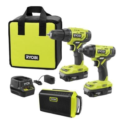 ONE+ 18-Volt Cordless 2-Tool Combo Kit with Bluetooth Speaker, (2) Batteries, Charger, and Bag