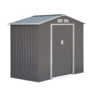 7 ft. x 4 ft. Metal Outdoor Backyard Garden Utility Storage Tool Shed Kit with Spacious Layout and Durable Construction