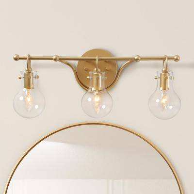 20 in. 3-Light Modern Brass Gold Wall Sconce Bathroom Vanity Light with Clear Glass Shade