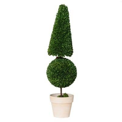 Potted Cone and Ball Faux Boxwood Green/Cream Large Topiary