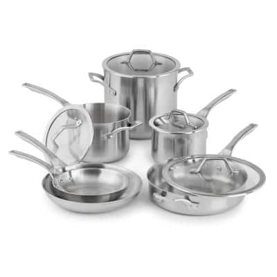 Signature 10-Piece Stainless Steel Cookware Set in Brushed Stainless Steel