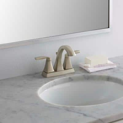 Voss 4 in. Centerset 2-Handle Bathroom Faucet in Brushed Nickel