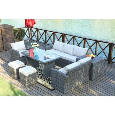 Cannes Variegated Grey 7-Piece Wicker Outdoor Sectional Set with Beige Cushions