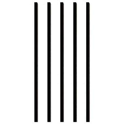 26 in. x 3/4 in. Black Aluminum Square Deck Railing Baluster (5-Pack)