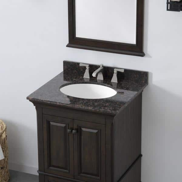 Home Decorators Collection Moorpark 25 In W Bath Vanity In Burnished Walnut With Granite Vanity Top In Brown With White Basin Moorpark 25bw The Home Depot
