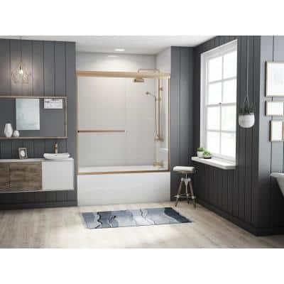 Paragon 3/16 B Series 60 in. x 57 in. Semi-Framed Sliding Tub Door with Towel Bar in Brushed Nickel and Clear Glass