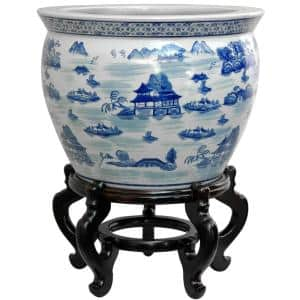 14 in. Landscape Blue and White Porcelain Fishbowl