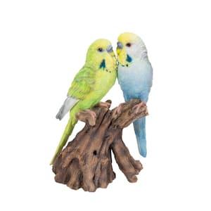Motion Activated Singing Couple Budgerigar On Stump Garden Statue