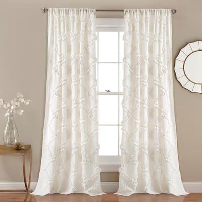 White Geometric Rod Pocket Room Darkening Curtain - 54 in. W x 84 in. L (Set of 2)