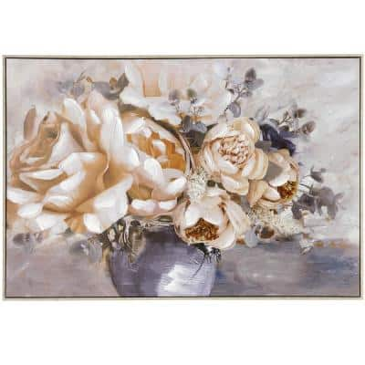 """Rowan """"Vase of Roses"""" Framed Nature Wall Art on Canvas and Framed 33 in. x 49 in."""