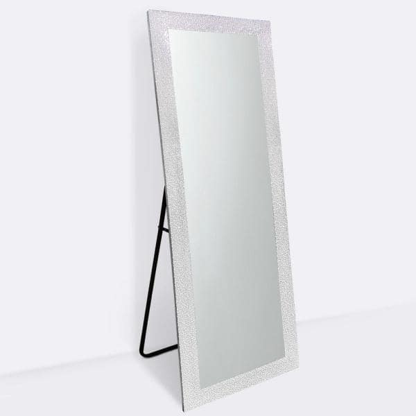 65 In X 22 In Sparkle Glam Mosaic Rectangle Framed Silver Full Length Standing Mirror Sparkle Silver 16354 The Home Depot