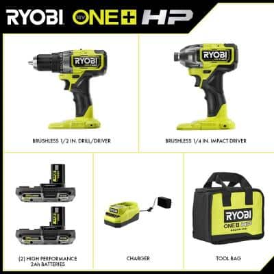 ONE+ HP 18V Brushless Cordless 1/2 in. Drill/Driver and Impact Driver Kit w/ (2) 2.0 Ah Batteries, Charger, and Bag
