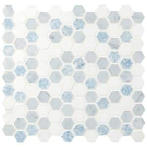 Azula Hexagon 11.81 in. x 11.61 in. x 10mm Polished Marble Mesh-Mounted Mosaic Tile (9.6 sq. ft. / Case)