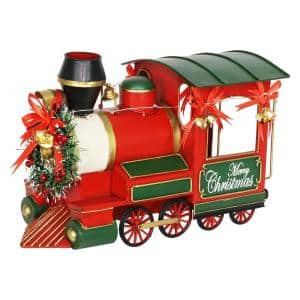Holiday LED Locomotive with Battery Powered Timer Garden Statue