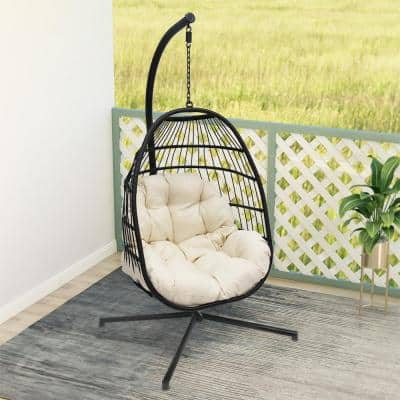 Black Steel Wicker Hanging Basket Outdoor Swing Chair with Beige Cushion and Stand