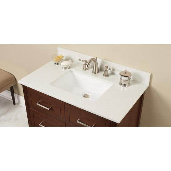 Home Decorators Collection 37 In W Engineered Stone Single Vanity Top In Sparkling White With White Sink Sprwht3722 2cm The Home Depot