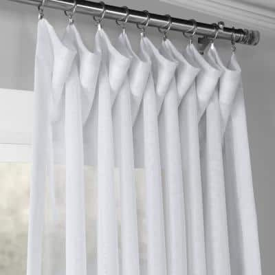 White Solid Extra Wide Rod Pocket Sheer Curtain - 100 in. W x 108 in. L