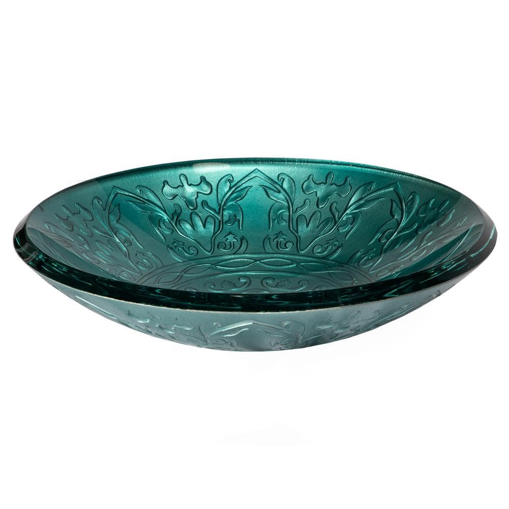 Eden Bath Embossed Glass Vessel Sink In Teal Eb Gs03 The Home Depot