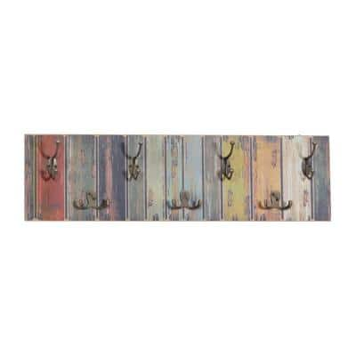8 in. x 28 in. Multi Colored Wood Rustic Wall Hook