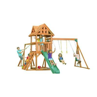 Mountain View Lodge Playset with Wooden Roof, Multi-Color Accessories and Green Slide