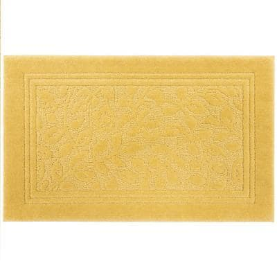 Wellington 30 in. x 50 in. Nylon Machine Washable Bath Mat in Gold