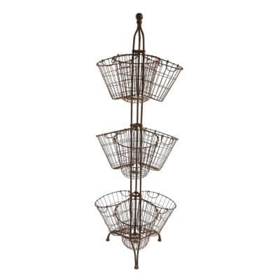 Round Metal Baskets on Stand (Set of 9 Baskets)